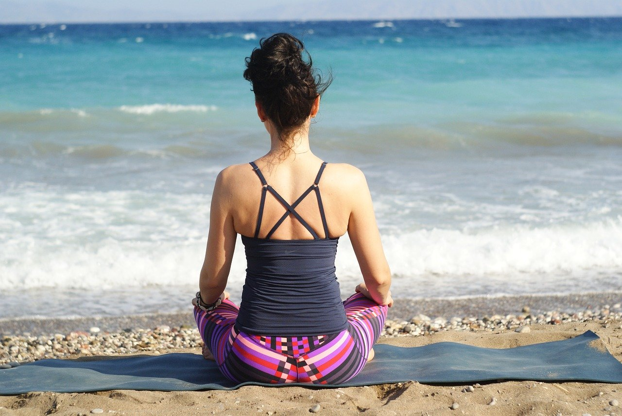 woman, yoga, beach
